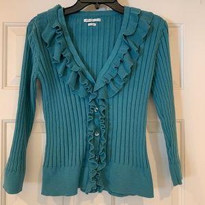 Van Heusen Teal V-Neck Ruffle Cardigan Sweater Med